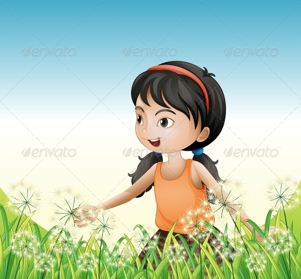 GraphicRiver Girl standing in the Grass 8073848