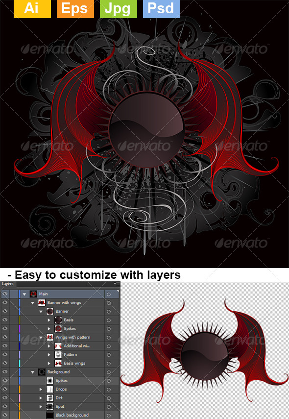 GraphicRiver Gothic Round Banner with the Red Wings Dragon 8073851
