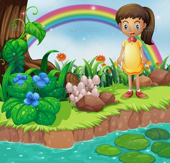 GraphicRiver Small Girl at the Riverbank with Mushrooms 8073863