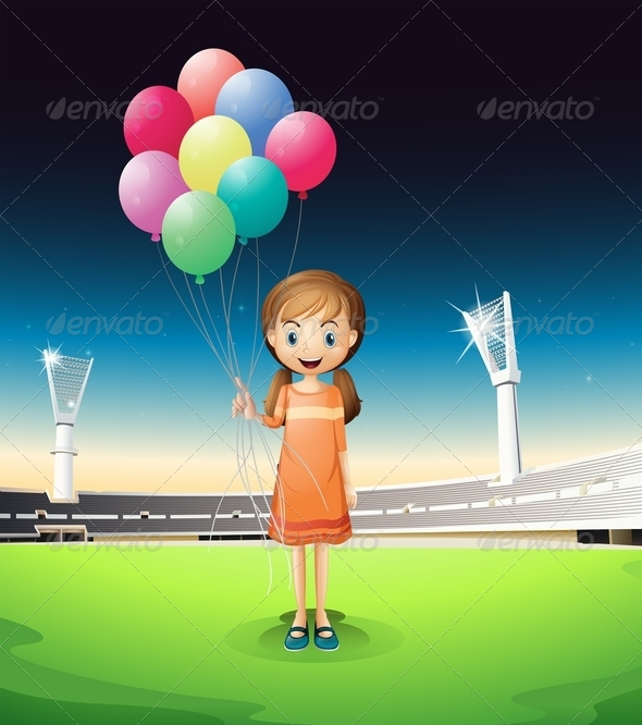 GraphicRiver Girl holding Balloons 8073865