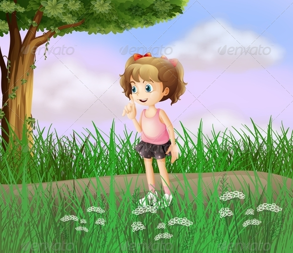 GraphicRiver Little Girl Walking in the Street 8073887