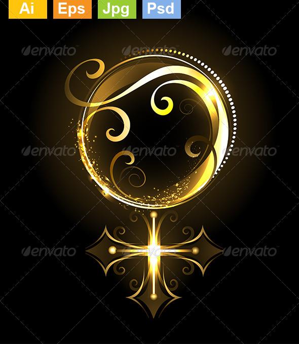 GraphicRiver Golden Symbol of Venus 8073895