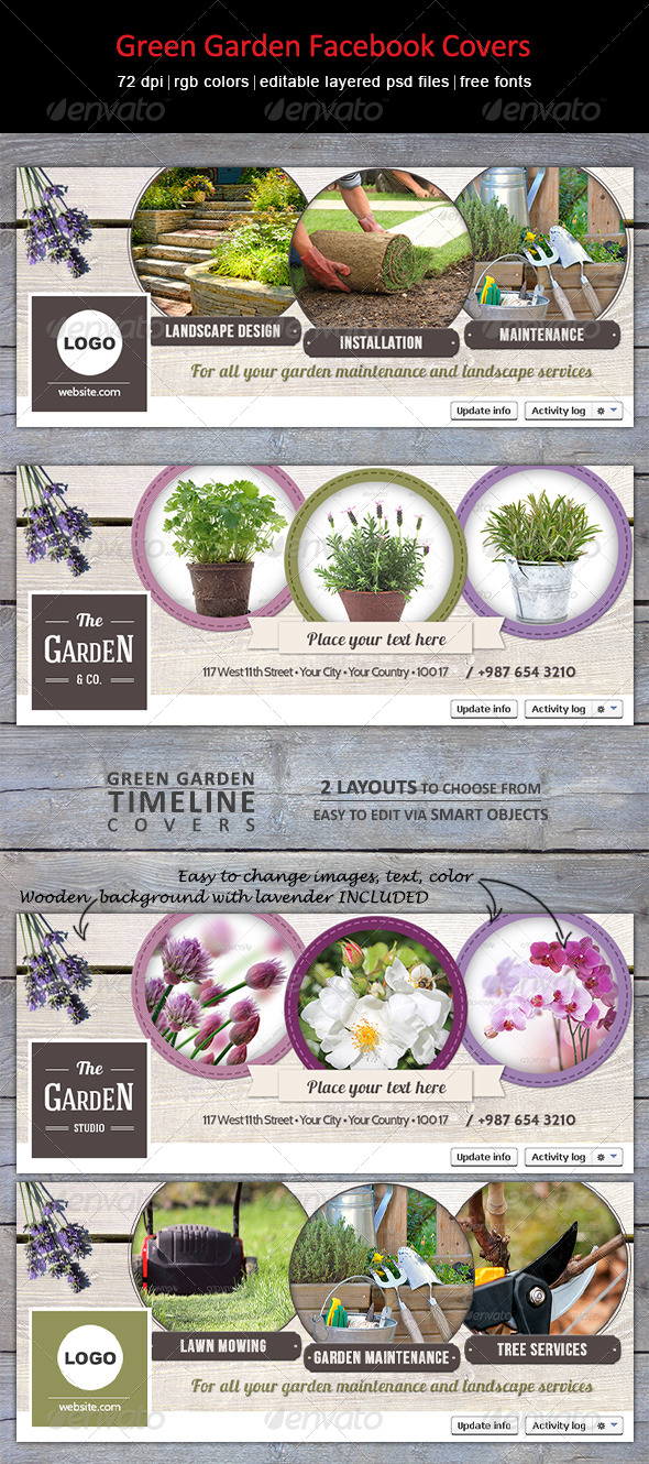 GraphicRiver Green Garden Facebook Covers 8073907