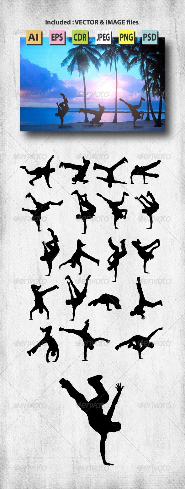 GraphicRiver Male Breakdance Silhouettes 8073924
