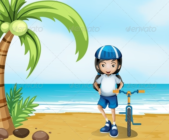 GraphicRiver Female Biker Standing at the Beach 8074068