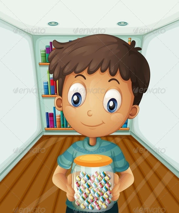 GraphicRiver Boy Holding a Jar of Candies in Front of Books 8074090