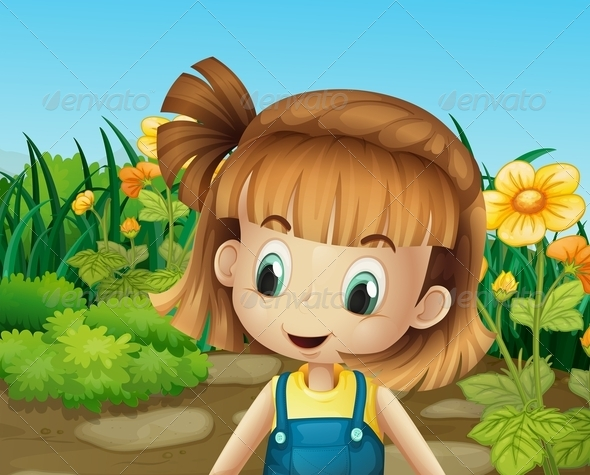GraphicRiver Little Girl in the Garden with Blooming Flowers 8074136
