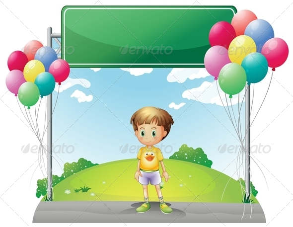 GraphicRiver Young Boy Standing Below Empty Signage 8074148