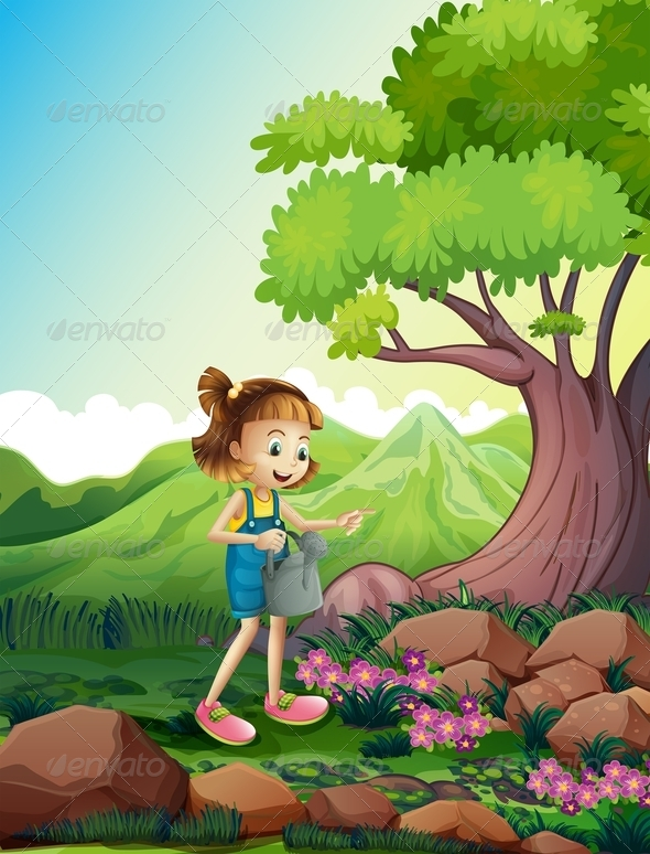 Girl Watering the Plants Near Rocks