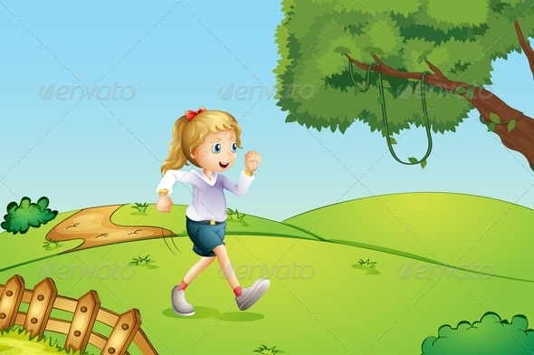 GraphicRiver Girl Jogging on a Hill 8074159