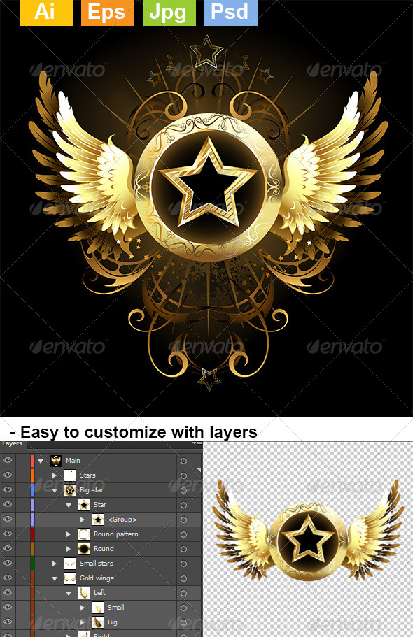 GraphicRiver Star with Golden Wings 8074161