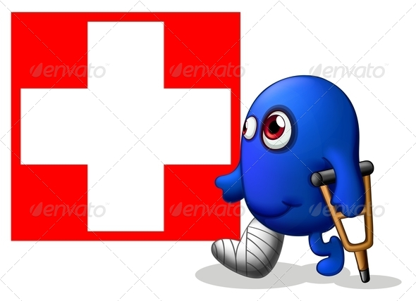 GraphicRiver Injured Monster with Red Cross Signage 8074165
