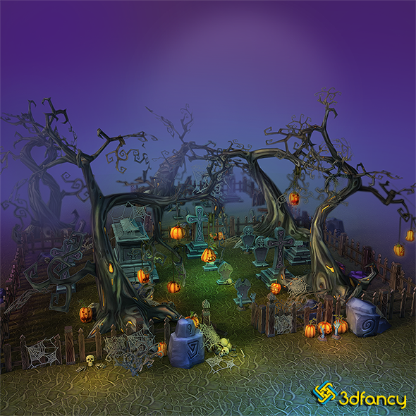 3DOcean Low Poly Cemetery Halloween Set 8074168