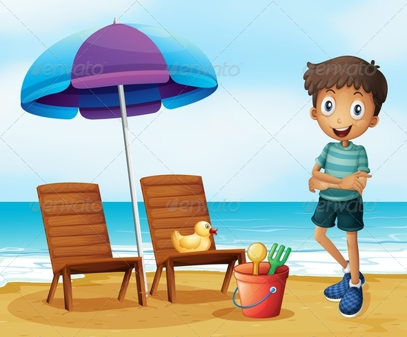 GraphicRiver Young Boy at the Beach Near Wooden Chairs 8074216