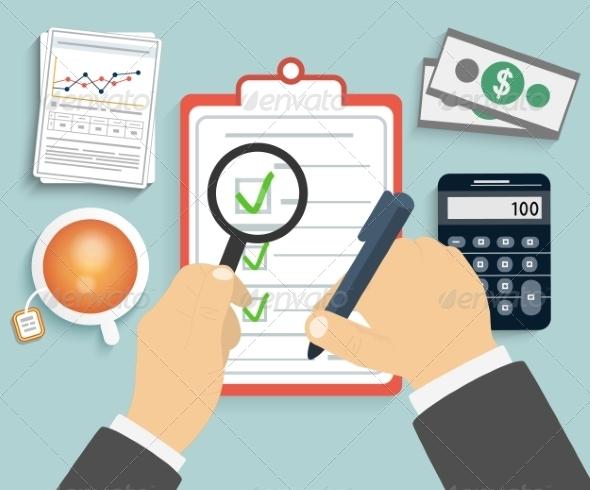 GraphicRiver Businessman Checks a Document 8074245