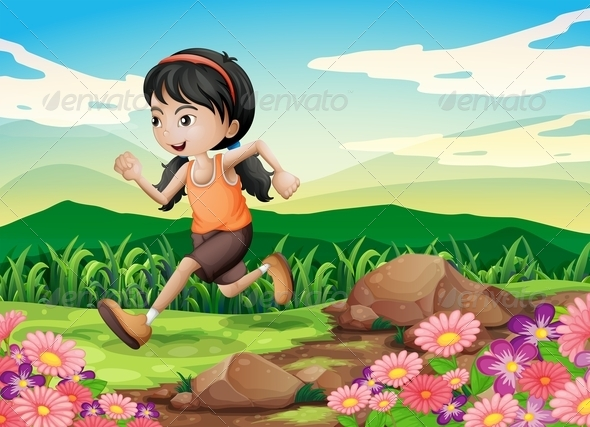 GraphicRiver Young Girl Running Hurriedly 8074249