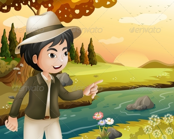 GraphicRiver Man with a Hat at the Riverbank 8074266