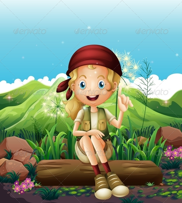 GraphicRiver Smiling Girl Resting Near Rocks 8074291