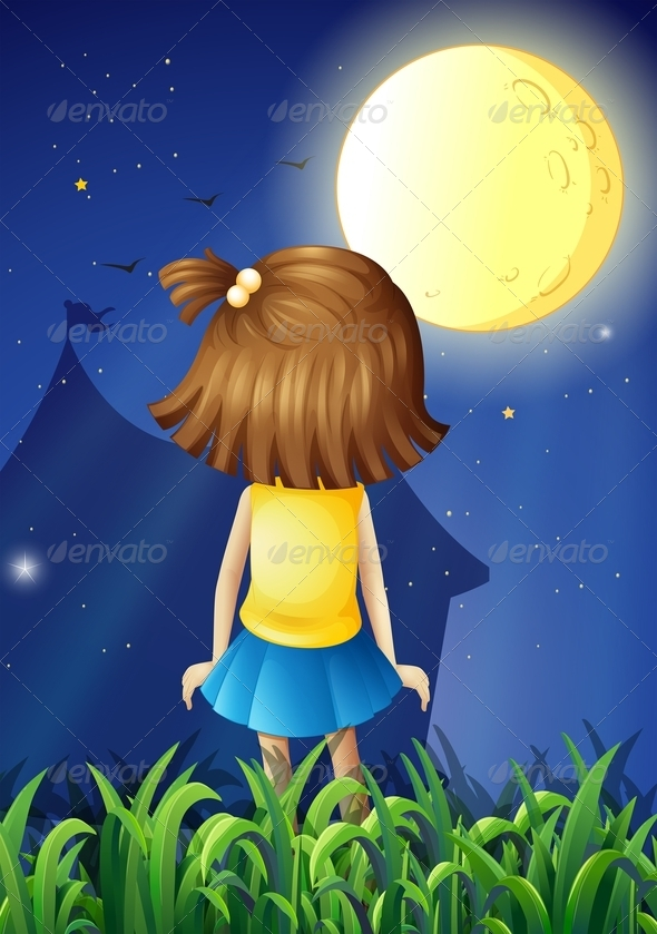 GraphicRiver Little Girl Facing the Bright Fullmoon 8074295
