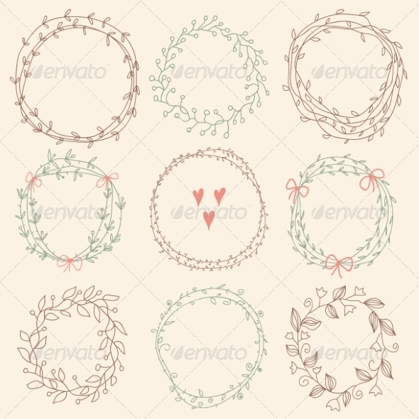 GraphicRiver Set of Floral Frames 8074301