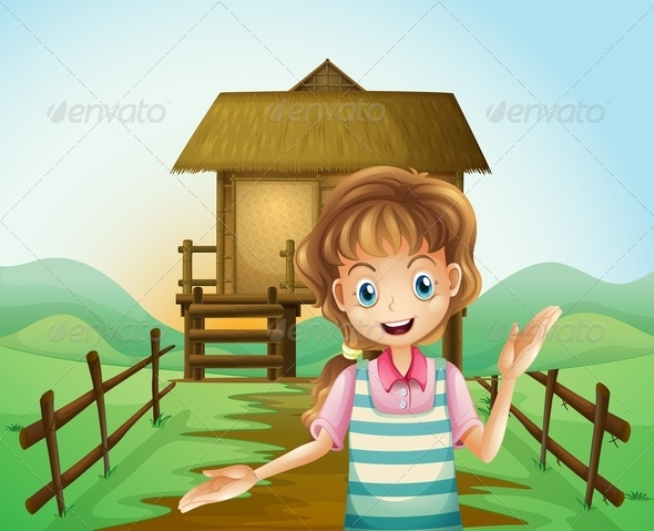 GraphicRiver Girl in Front of a Nipa Hut 8074312