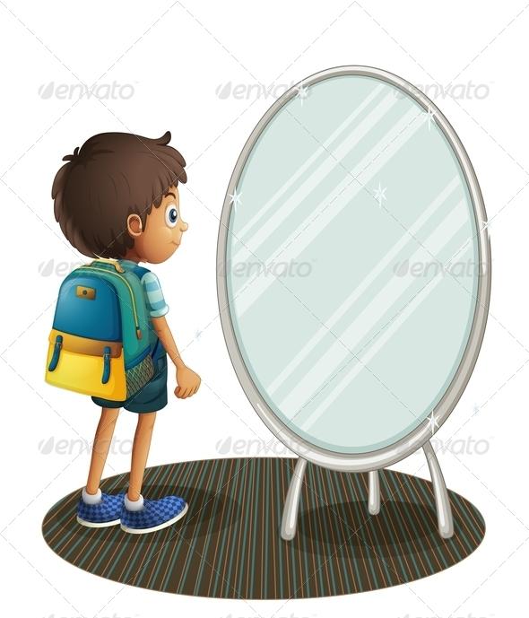 GraphicRiver Boy Facing a Mirror 8074317