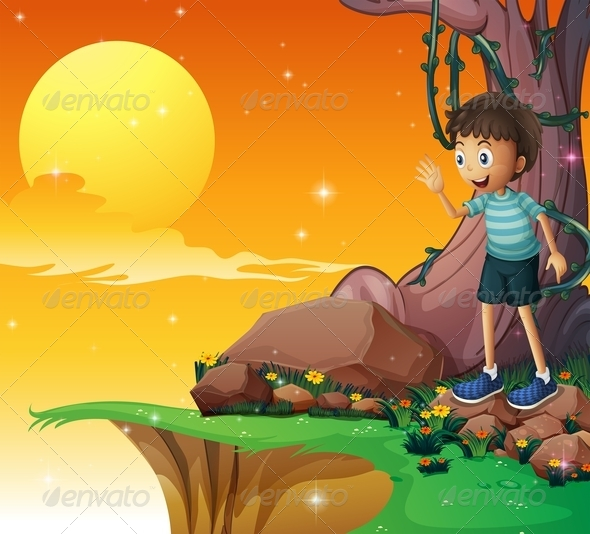 GraphicRiver Young Boy Above Rocks Rear the Cliff 8074328