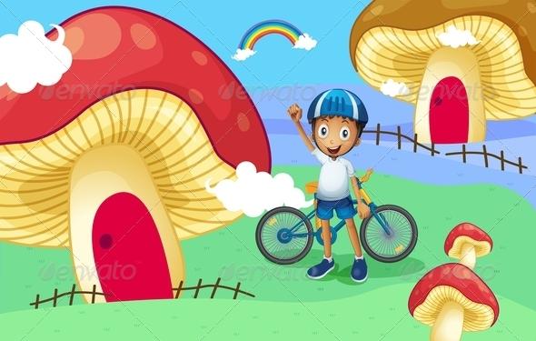 GraphicRiver Young Biker Near Giant Mushroom Houses 8074329