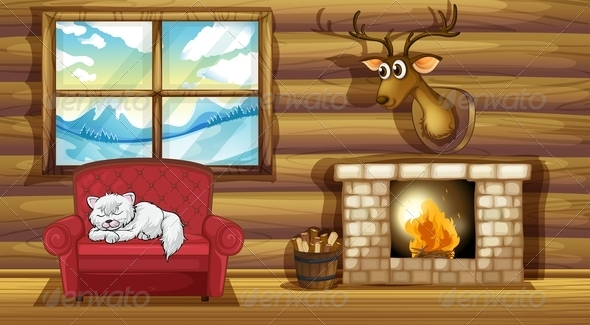 GraphicRiver Cat Sleeping on a Chair Near the Fireplace 8074339