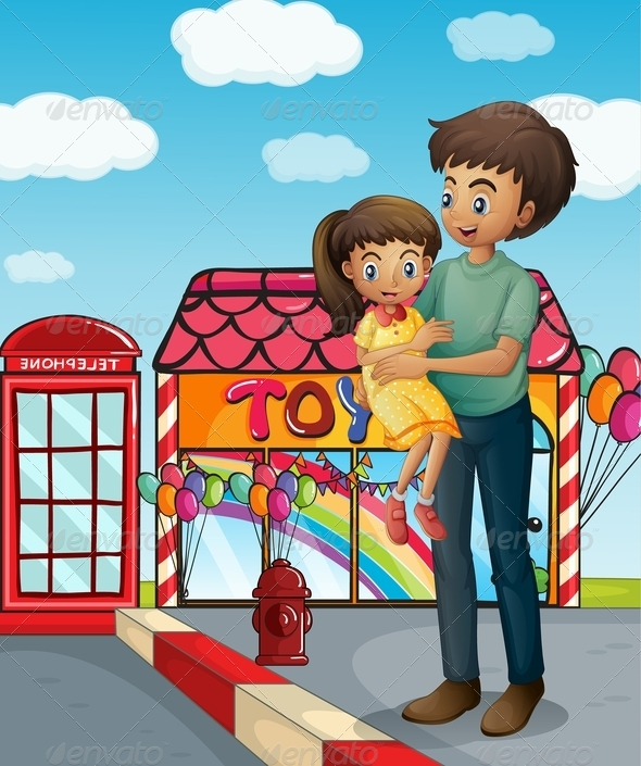 GraphicRiver Father and His Child Near a Toy Store 8074409