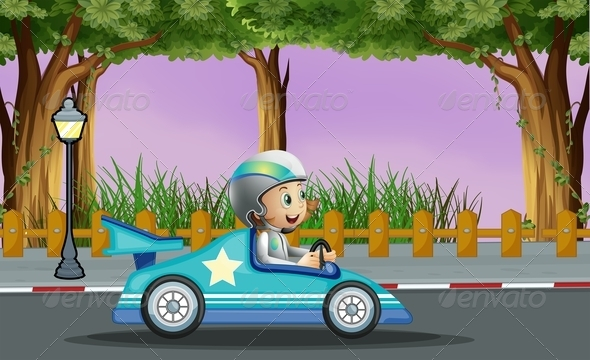 GraphicRiver Boy in Blue Racing Car with a White Star 8074410