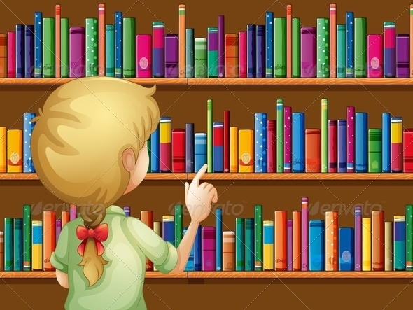 GraphicRiver Girl Selecting Books 8074456