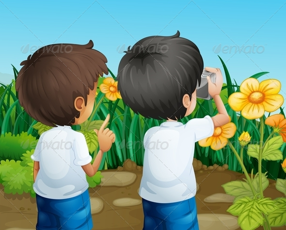 GraphicRiver Two Boys Taking Photos of the Flowers 8074457