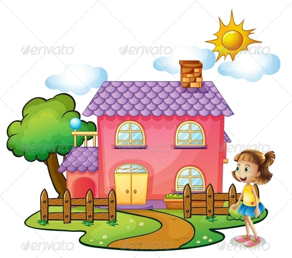 GraphicRiver Girl in Front of Their House 8074483