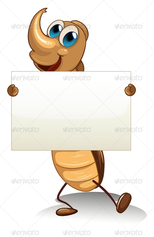 GraphicRiver Cockroach Holding an Empty Cardboard 8074510