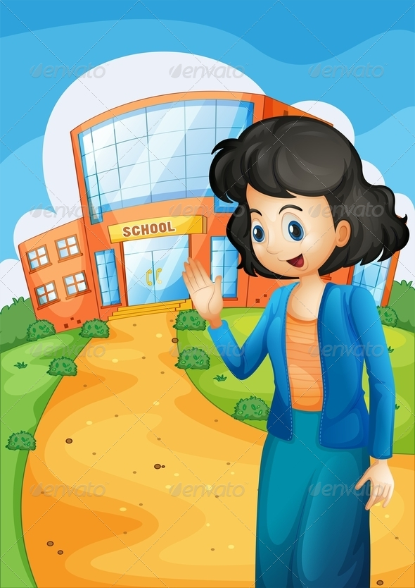 GraphicRiver Teacher in Front of the School 8074545