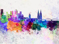 Cologne skyline in watercolor background - PhotoDune Item for Sale