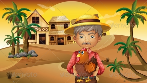 GraphicRiver Old Man and His Rooster in the Desert 8074579