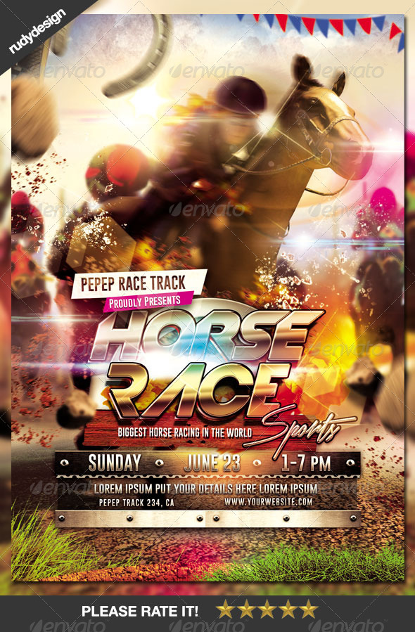 GraphicRiver Dramatic Horse Racing Flyer 8074584