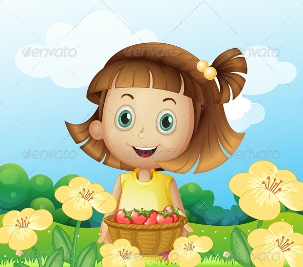 Girl Holding a Basket of Fruits