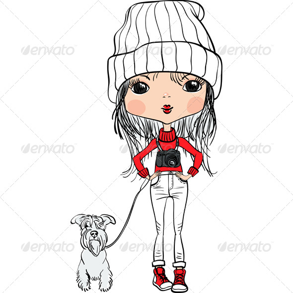 GraphicRiver Hipster Girl with a Dog and a Camera 8074623