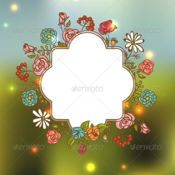 GraphicRiver Flower Invitation Card Floral Frame with Ribbon 8074664