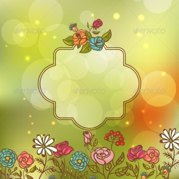 GraphicRiver Flower Invitation Card Floral Frame with Ribbon 8074671