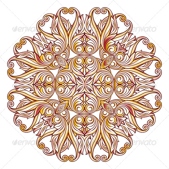 GraphicRiver Ornate Floral Pattern on White 8074729