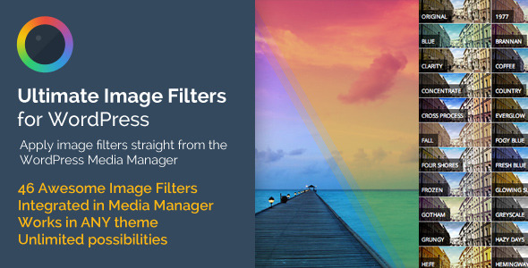 Apply 40+ Image Filters Straight From Your Media Manager Ultimate Image Filters is a WordPress Plugin that integrates directly into your WordPress admin'