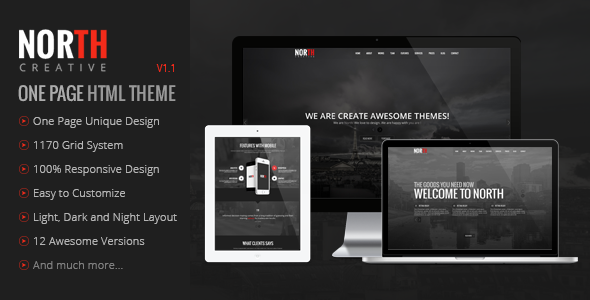 North - One Page Parallax Theme - Creative Site Templates