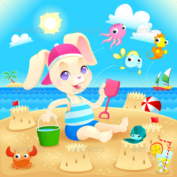 GraphicRiver Young Rabbit Makes Castles on the Beach 8075702