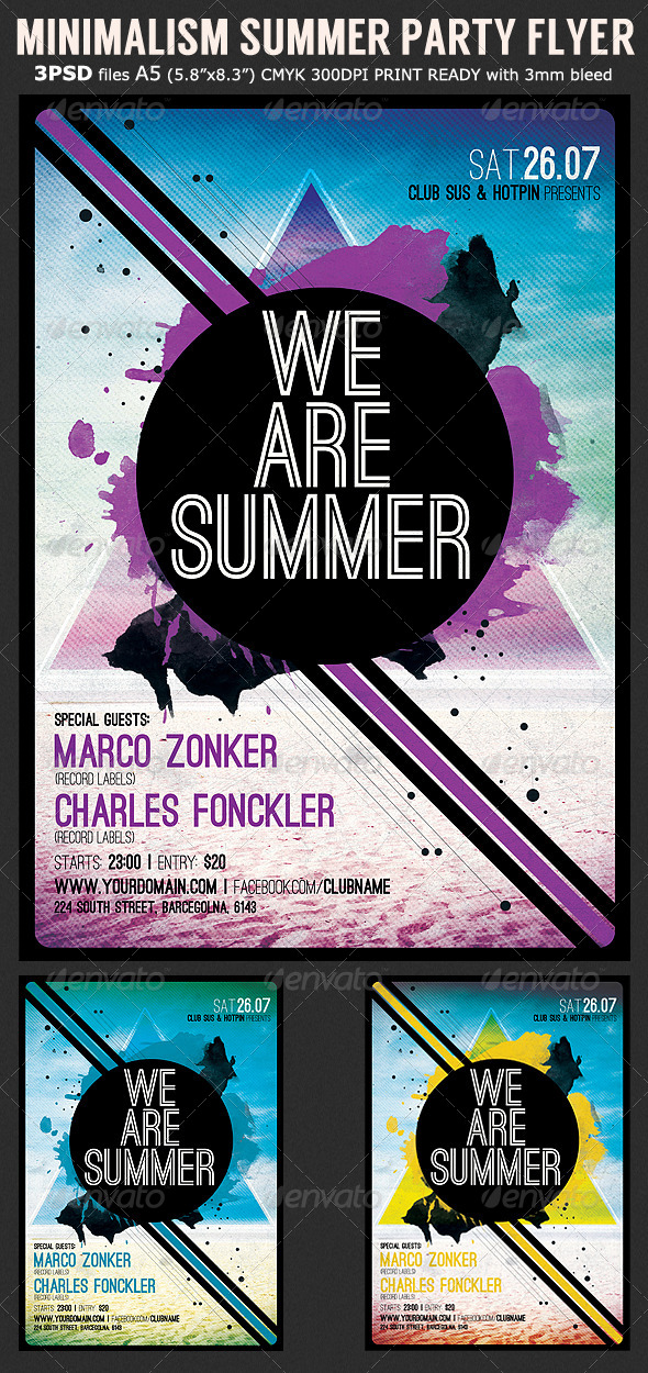Minimalism Summer Party Flyer Template - Clubs & Parties Events