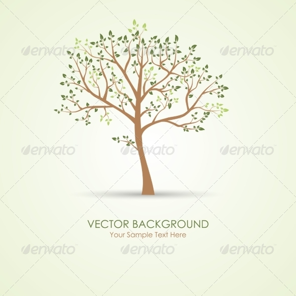 GraphicRiver Vector Green Tree 8076039