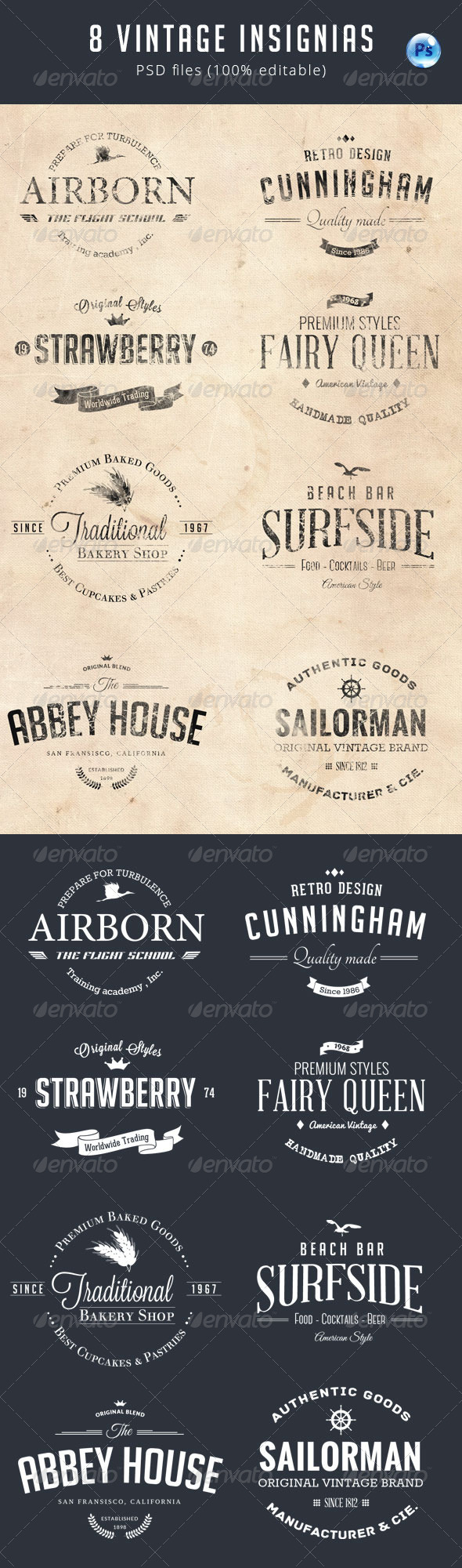 GraphicRiver 8 Vintage Insignias 8076087